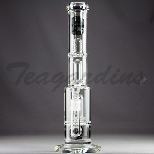 Mav Glass - Double Chamber Double UFO Percolator Stemless Straight Water Pipe - Black Decal - 5mm Thickness / 15