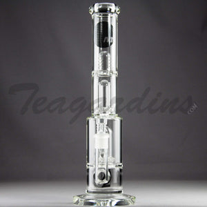 "Mav Glass - Double Chamber Double UFO Percolator Stemless Straight Water Pipe - Black Decal - 5mm Thickness / 15"" Height"
