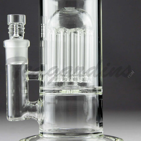 "Mav Glass - Double Chamber Double Tree Percolator & UFO Percolator Stemless Straight Water Pipe - Gold Decal - 5mm Thickness / 16"" Height"