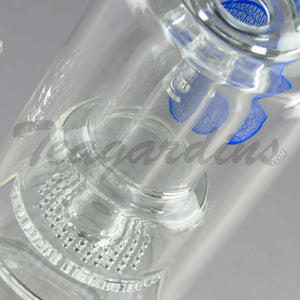 "Mav Glass - Double Chamber Double Honeycomb Percolator Stemless Straight Bent Neck Water Pipe - Blue Decal - 5mm Thickness / 16"" Height"