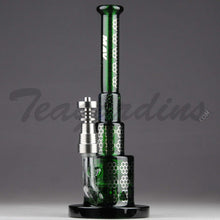 "Load image into Gallery viewer, Mav Glass - Pyramid - Honeycomb Percolator Diffuser Dab Rig - Green Glass / Silver Decal - 5mm Thickness / 8.5"" Height"