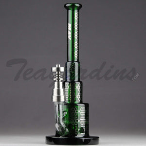 "Mav Glass - Pyramid - Honeycomb Percolator Diffuser Dab Rig - Green Glass / Silver Decal - 5mm Thickness / 8.5"" Height"