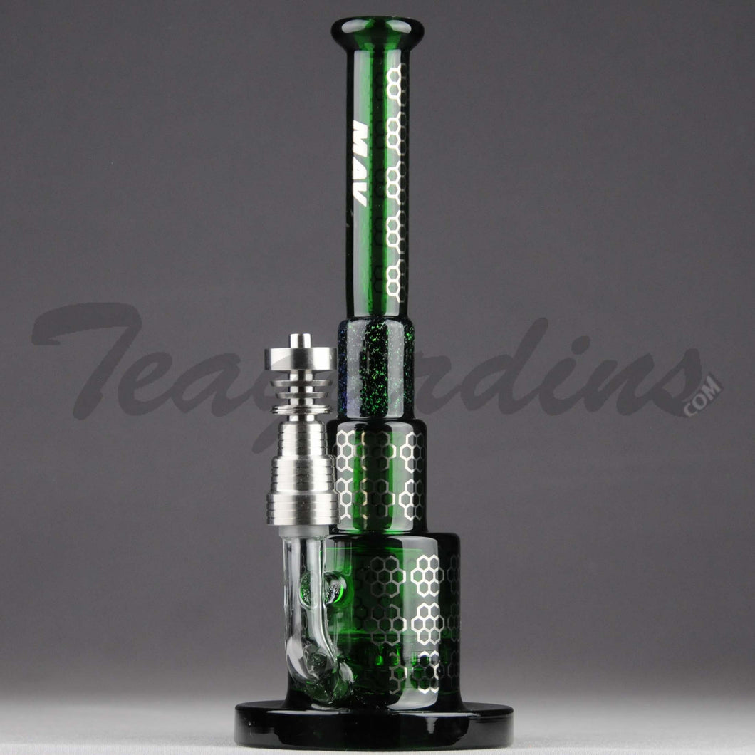 Mav Glass - Pyramid - Honeycomb Percolator Diffuser Dab Rig - Green Glass / Silver Decal - 5mm Thickness / 8.5