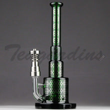 Load image into Gallery viewer, Best Price Maverick Glass - Green Pyramid Bubbler With HD Percolator and Domeless Titanium Nail