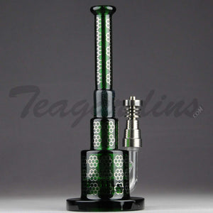 Quality Water Pipe Maverick Glass - Green Pyramid Bubbler With HD Percolator and Domeless Titanium Nail