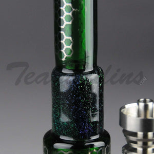 "Mav Glass - Green Pyramid - Honeycomb Percolator Diffuser Dab Rig - Green - 5mm Wall Thickness / 8.5"" Height"