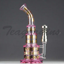 Load image into Gallery viewer, Maverick Glass Pink Pyramid Bubbler With Disc Percolator and Domeless Titanium Nail Girls