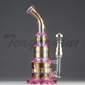 Maverick Glass Pink Pyramid Bubbler With Disc Percolator and Domeless Titanium Nail Girls