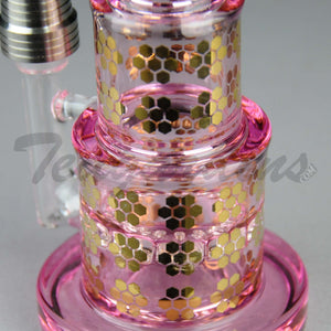 "Mav Glass - Pyramid - Honeycomb Percolator Diffuser Dab Rig - Pink -5mm Thickness / 8"" Height"