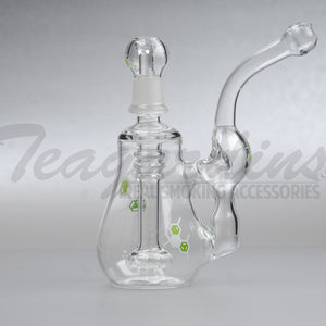 "Molecule Glass - Recycler Showerhead Downstem Diffuser - Green Decal - 5mm Thickness / 7"" Height"