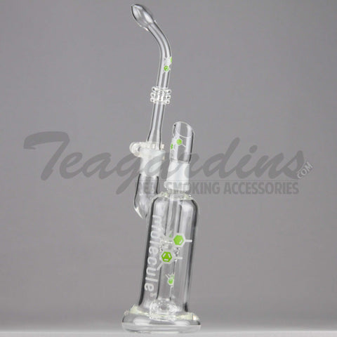 "Molecule Glass - Showerhead Downstem Dab Rig - Green Decal - 5mm Thickness / 13"" Height"