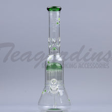 "Load image into Gallery viewer, Molecule Glass - Double Chamber Tree Percolator Diffuser Downstem Beaker Water Pipe - Green - 5mm Thickness / 17"" Height"