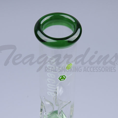 "Molecule Glass - Double Chamber Tree Percolator Diffuser Downstem Beaker Water Pipe - Green - 5mm Thickness / 17"" Height"
