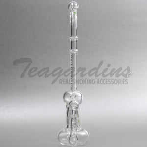 "Molecule Glass - Belly Button Bubbler - Stemless Dab Rig - Etched Decal - 4mm Thickness / 12"" Height"