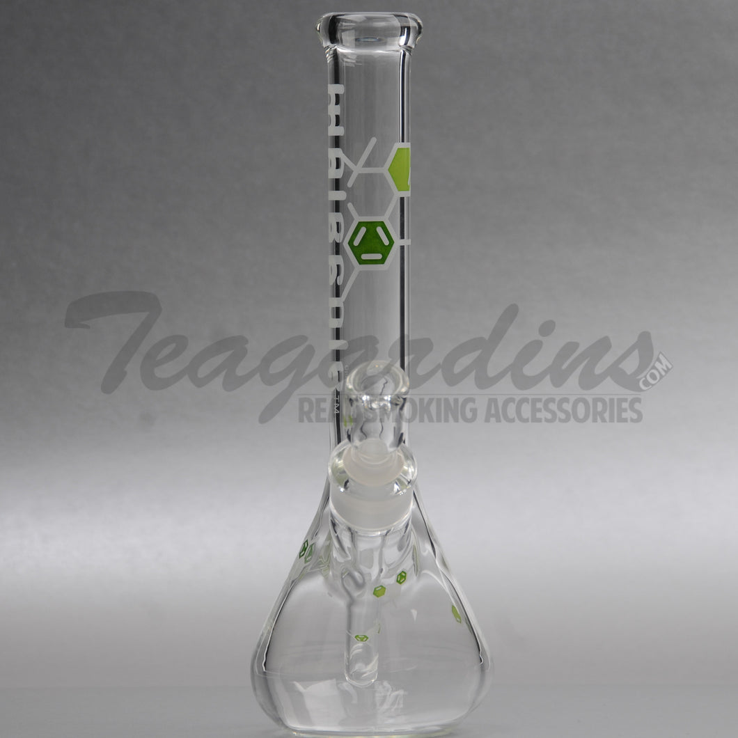 Molecule Glass - Mini Beaker Water Pipe - Green Decal - 5mm Thickness / 11