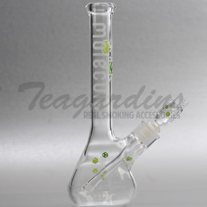 "Molecule Glass - Mini - Diffuser Downstem Beaker Water Pipe - Green Decal - 5mm Thickness / 11"" Height"