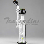 Molecule Glass - D.I. Bubbler - Fixed Showerhead Downstem Straight Water Pipe - Black Rasta - 5mm Thickness / 12