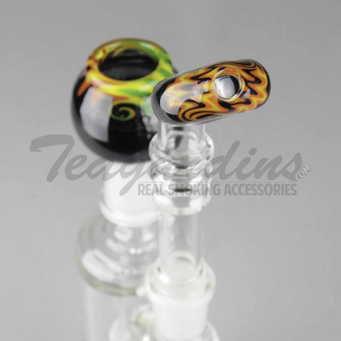 "Molecule Glass - D.I. Bubbler - Fixed Showerhead Downstem Straight Water Pipe - Black Rasta - 5mm Thickness / 12"" Height"