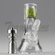 OG Glass - Mini Beaker - Titanium Nail Showerhead Downstem Dab Rig -  Green Decal - 5mm Thickness / 3