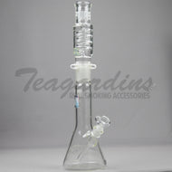 Pure Glass- Zero Coil Beaker Water Pipe - Etched Decal - 5mm Thickness / 22