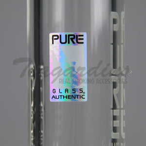 "Pure Glass- Zero Coil Beaker Water Pipe - Etched Decal - 5mm Thickness / 22"" Height"