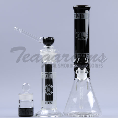 Pure Glass - Pure & Crooks and Castle Collab - 3pc. Set - Showerhead Downstem Beaker Water Pipe, Tree Percolator Straight Bubbler, and Jar - 5mm Thickness
