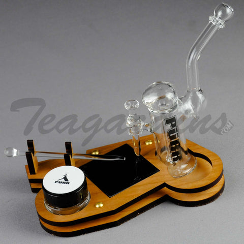 "Purr Glass - All in One Kit - Bubbler Showerhead Downstem Dab Rig - 4mm Thickness / 5"" Height  - Glass Dabber - Glass Jar - Custom Wood Stand"