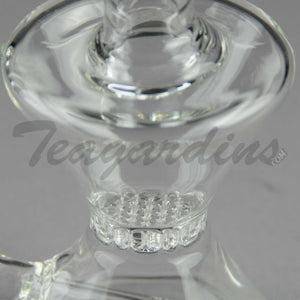 "Purr Glass - Hourglass Bubbler -  Inline Diffuser Honeycomb Percolator Stemless Dab Rig - Black Decal - 7mm Thickness / 7.5"" Height"