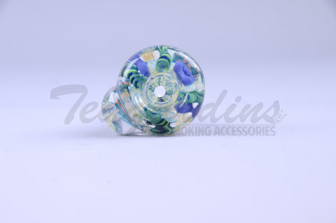 Pyro Worked Glass on Glass Cane 14mm Bowl