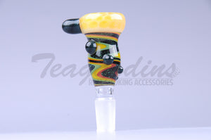 Pyro Worked Glass on Glass Yellow Reversal 14mm Bowl Bong Slide