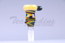 Load image into Gallery viewer, Pyro Worked Glass on Glass Yellow Reversal 14mm Bowl Bong Slide