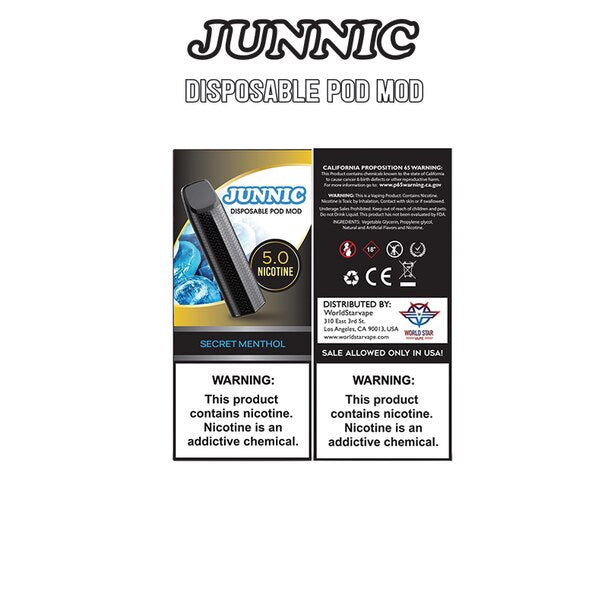 Junnic - Pod Disposable Mod Secret Menthol