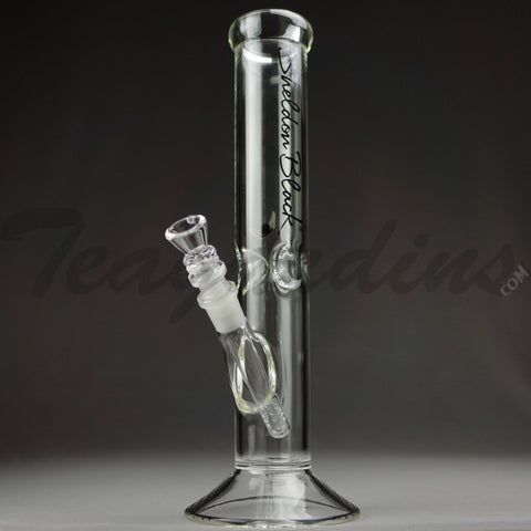"Sheldon Black - F19 Medio Straight Water Pipe - Black Signature Decal - 5mm Thickness / 13"" Height"
