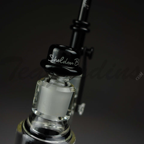 "Sheldon Black Glass - Six Shooter - Tree Percolator Diffuser Dab Rig - Black / Gold Decal - 5mm Thickness / 15"" Height"