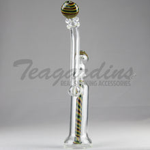 "Load image into Gallery viewer, Silika Glass - Bubbler - Showerhead Percolator Diffuser Dab Rig - Rasta - 5mm Thickness / 12"" Height"