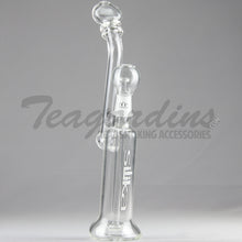 "Load image into Gallery viewer, Silika Glass - Bubbler - Showerhead Diffuser Dab Rig - White Decal - 5mm Thickness / 12"" Height"
