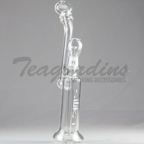 Silika Glass - Bubbler - Showerhead Diffuser Dab Rig - White Decal - 5mm Thickness / 12