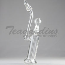"Load image into Gallery viewer, Silika Glass - Bubbler - Showercap Diffuser Dab Rig - White Decal - 5mm Thickness / 12"" Height"