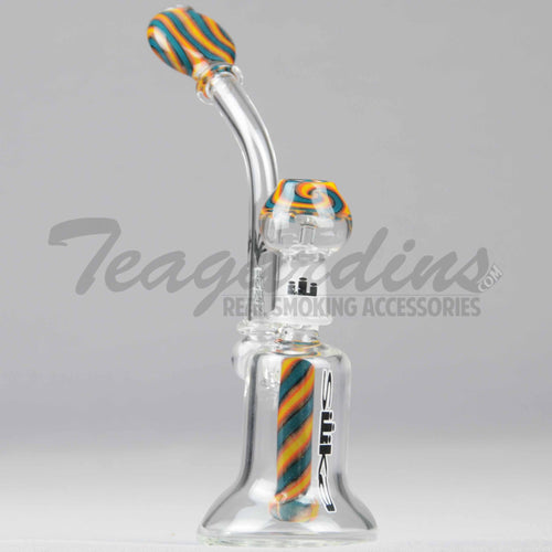 Silika Glass - Bubbler - Worked Showerhead Downstem Dab Rig - Blue Orange - 5mm Thickness / 8