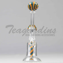 "Load image into Gallery viewer, Silika Glass - Bubbler - Worked Showercap Diffuser Dab Rig - Blue Orange - 5mm Thickness / 8"" HeightSilika Glass - Bubbler - Worked Showerhead Downstem Dab Rig - Blue Orange - 5mm Thickness / 8"" Height"