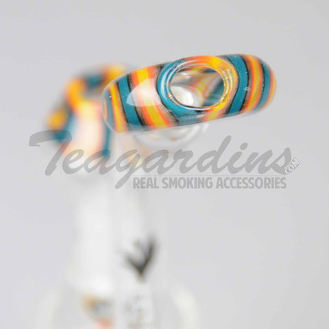 "Silika Glass - Bubbler - Worked Showerhead Downstem Dab Rig - Blue Orange - 5mm Thickness / 8"" Height"