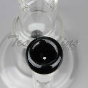 "Teagardins Glass - Showerhead Percolator Stemless Straight Water Pipe - Black - 5mm Thickness / 12.5"" Height"