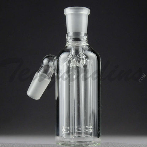 "Teagardins Glass -  Fixed 3 Arm Tree Percolator Ash Catcher / Precooler - 45 Degree Arm / 4.5"" Height 14mm Fitting"