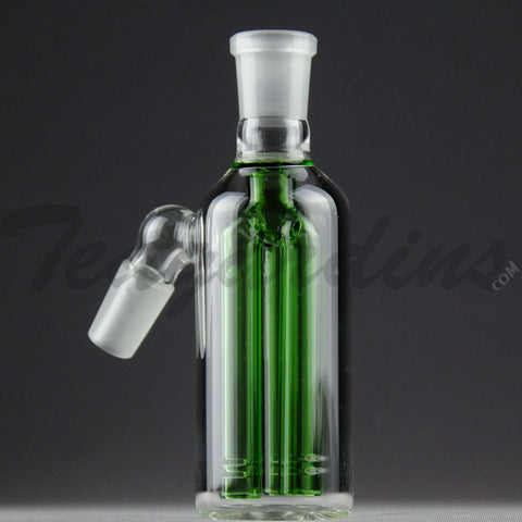 "Teagardins Glass -  Fixed 3 Arm Tree Percolator Ash Catcher / Precooler - Green - 45 Degree Arm / 4.5"" Height 14mm Fitting"