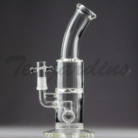 "Teagardins Glass - D.I. Bubbler - Hammerhead & Turbine Percolator Stemless Straight Water Pipe - 4mm Thickness / 9"" Height"