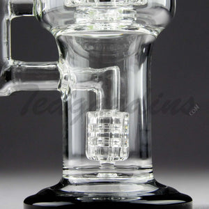 "Teagardins Glass -  D.I. Bubbler - Double Matrix & Mini Matrix Percolator Stemless Dab Rig - Black - 5mm Thickness / 10"" Height"