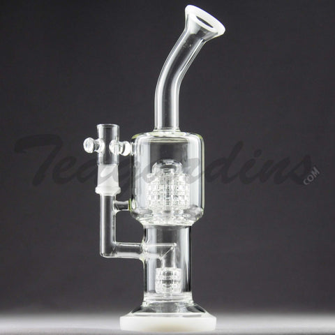 Teagardin's Glass - D.I. Bubbler With Mini Matrix to Matrix Percolator and White Foot and Mouthpiece