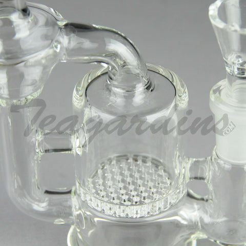 "Teagardins Glass -  Mini Bubbler - Recycler Honeycomb Percolator Diffuser Dab Rig - 5mm Thickness / 6.25"" Height"