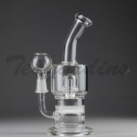"Teagardins Glass -  D.I. Bubbler - Honeycomb and Mini UFO Percolator Diffuser Stemless Dab Rig - 5mm Thickness / 8"" Height"