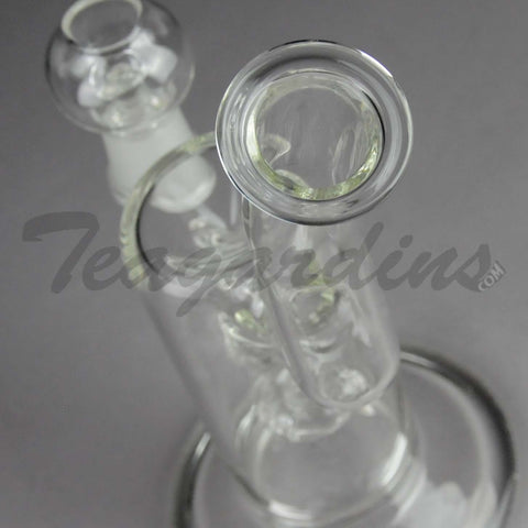 "Teagardins Glass -  D.I. Bubbler - Halo Percolator Diffuser Stemless Oil Rig - 5mm Thickness / 8"" Height"